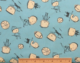 David Walker fabric Boys Will Be Boys Boys Toss DW45 Blue Children sports balls sewing quilting 100% cotton fabric by the yard novelty