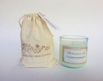 Lavender Lemongrass Coconut Wax Candle | 10 oz Recycled Spanish Glass