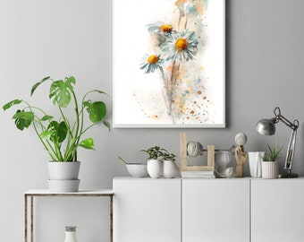 Daisies Fine Art Print, daisy flowers watercolor painting art, modern botanical floral wall art print, botanical art print