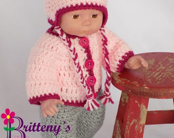 Baby Doll Clothes  Crochet Baby Doll Clothes  Crochet Baby Doll Red Pink Cardigan Sweater Ear Flap Hat Boots Gray Pants Baby Doll Clothing