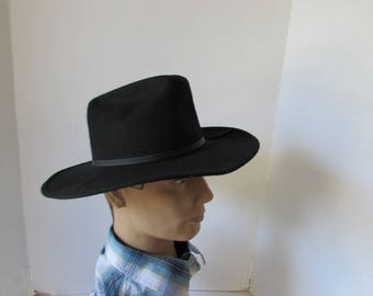 """Small Black Cowboy hat Eddy Bros. Brand """"Ranger"""" hat made in USA size 6 1/2"""
