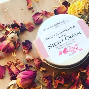 Organic Blue Chamomile & Rose Night Time Face Cream Waterless Moisturizer Real Moisture Nutrient Rich Real Pure Beeswax