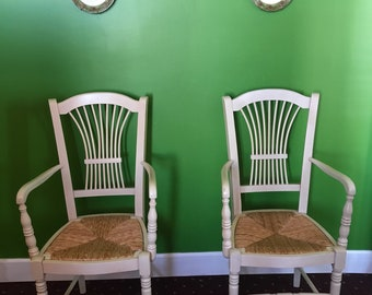 Pair of Handsome French Country Chairs (2) wheat sheaf back ~ rush seat