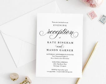 Printable Wedding Reception Invitation Template Evening