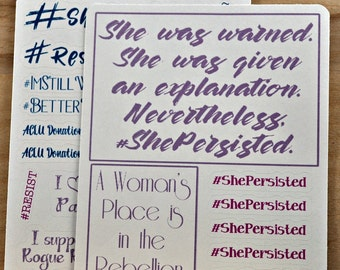 She Persisted stickers - Resistance-themed planner stickers