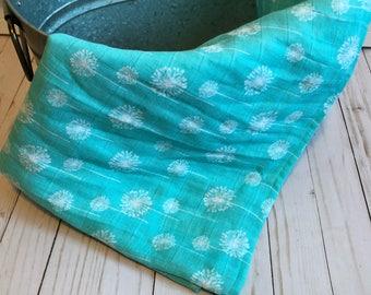 Teal Dandelion Double Gauze Blanket