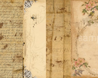 5 Sheet  Paper Pack  - Journaling Vintage  Papers -  Printable Digital Collage Sheet - Digital Download Scrapbooking Kit