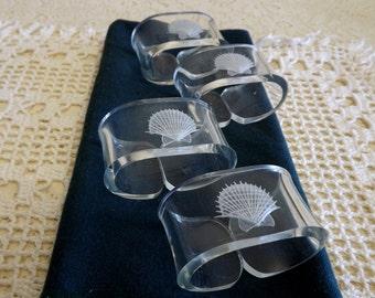 Vintage Sea Shell Napkin Ring Holders, Set of 4 Acrylic Seashell Napkin Rings