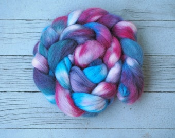 Hand Painted ALPACA Combed Top Roving // MagentaBlue Green White White 100% USA Alpaca Braid // Hand Dyed 4 Ounces