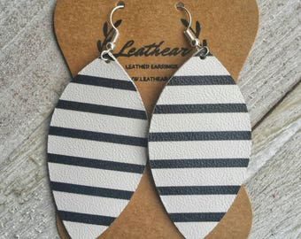 Black and White Striped Feather Shaped Leather Earrings