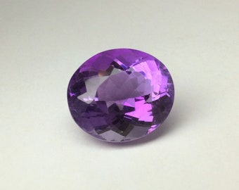 11 Carat 15.43x13.44mm Oval Purple Amethyst Nice Cut Loose Gem Wholesale Gemstone Faceted For Gold Jewelry February Birthstone Large