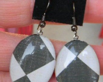 Black Witch Goth or Black and White Jester Harlequin - Cabochon Earrings