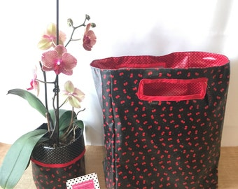 Cherry red tote bag and black reversible