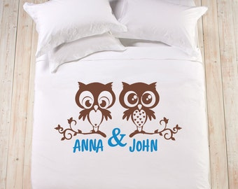 Handpainted Bedding Set King Queen, Wife Husband Girlfriend Boyfriend Gift  Engagement Wedding, Him And Her, Cotton Anniversary Owl Newlywed