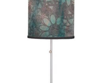 Stenciled flower lamp shade, turquoise drum pendant lamp shade, petal paint design table lamp stand, blue hanging light, stamped tripod lamp