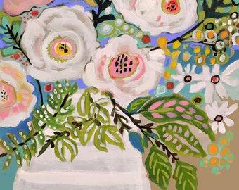 Flowers in Vase Painting on 18 x 24 Paper by Karen Fields