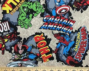 Marvel Comics Fabric Avengers Fabric Spiderman Hulk Thor Captain America Fabric By the Yard t6/34