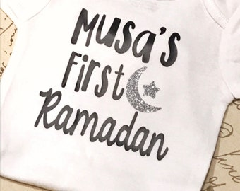 First Ramadan with name baby bodysuit, ramadan onesie, eid baby , ramadan baby shirt, muslim baby, eid gift, ramadan gift,gerber product
