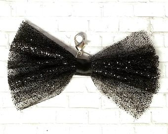 Black Glittered Wedding Planner Bow Charms - Tattered Bow - Glitter - Bride and Groom - Glam Accessories - Halloween Planner Accessories