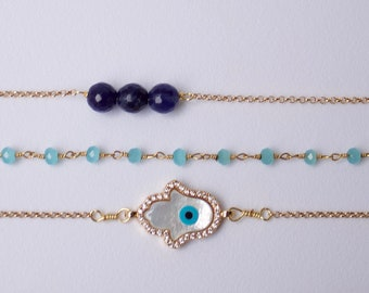 SET OF 3 Hamsa Dainty Gold, Aquamarine Pave & Sodalite 14K Gold Filled Lava Stone Bracelets
