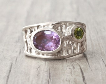 Amethyst Ring, Sterling Silver Wide Band Amethyst and Peridot Gemstone Cocktail Ring, February Birthstone, Geometric Ring, Amethyst Jewelry