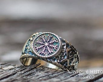 Helm of Awe • Aegishjalmur Ring • Viking Runes Ring • HAIL ODIN Ring • Norse Runes • Handcrafted Viking Ring • Sterling Silver Norse Jewelry