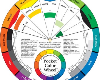 Color Wheel Pocket Size 5-1/8in Candle Color Mixing Guide, Artist, Paint