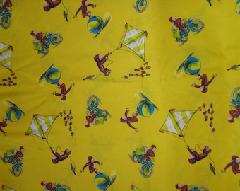 26 x 43 Inches Yellow Curious George Cotton Fabric Remnant