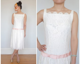 Vintage 50's/60's White Lace Drop Waist Dress with Pink Ribbon and Bow | XS/Small