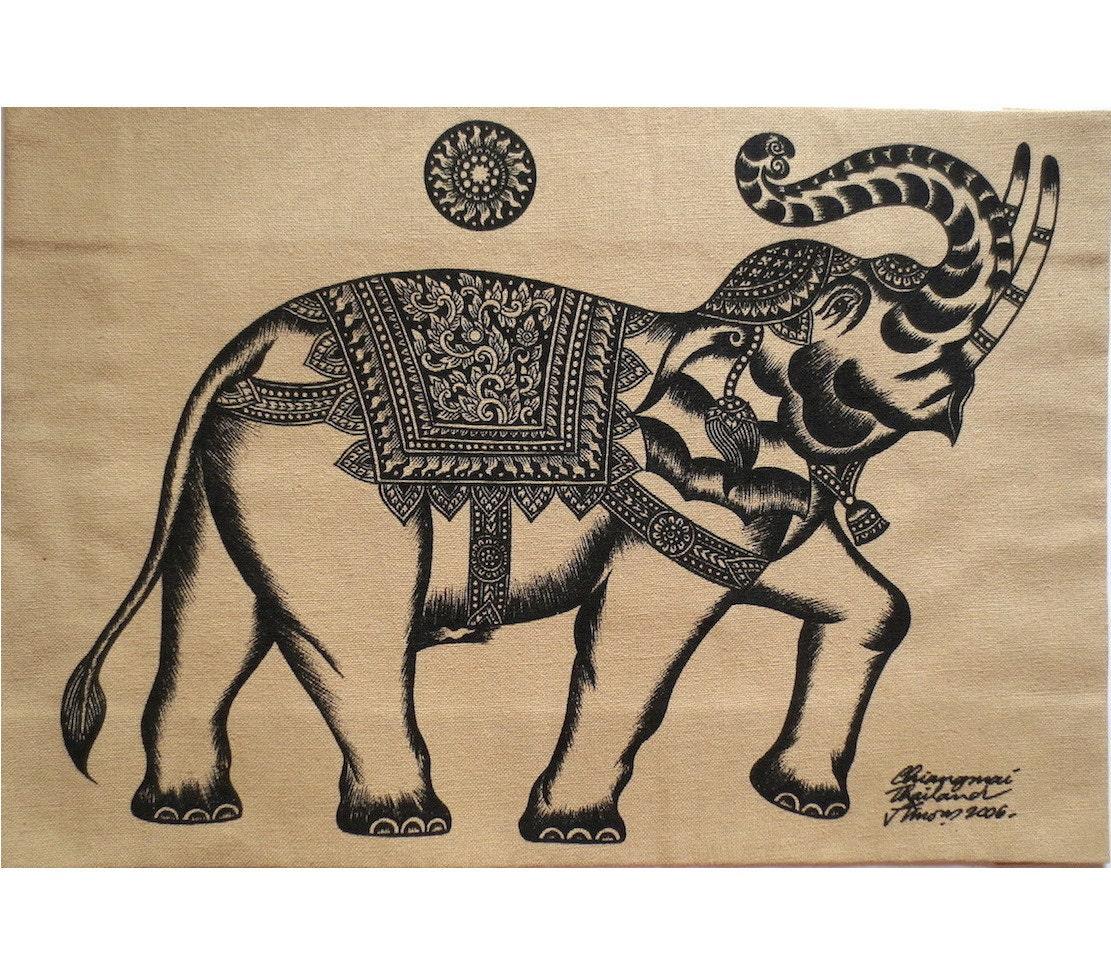 Elephant sketch wall hanging batik hand painted silkscreen zoom buycottarizona Images
