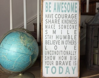 Be Awesome Today Family Rules Motivational Wooden Painted Sign with Rustic Reclaimed Wood Frame