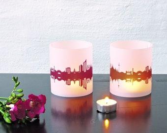 Lantern LEIPZIG city light, 2 Tablelight in fume and plum, for Leipzig Lovers, Honeymoon in Leipzig, romantic candlelight,City Shade Leipzig