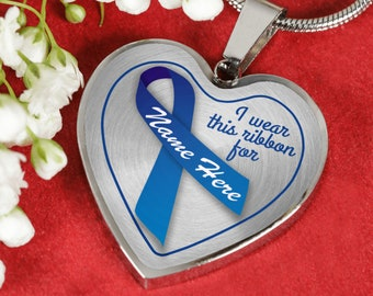 Colon Cancer Patient Supporter Necklace,Blue Ribbon,Chemo Surgery Gift,Personalized Engraved,Colorectal Cancer Support Jewelry