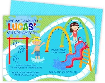 Splash Pad Invitations, Spray Park Invitations, Splash Pad, Pool Party, Splash Pad Party, Splish Splash,Splash Pad Invite,Splash Party | 570