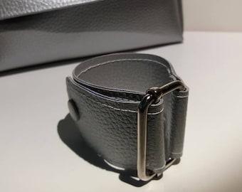 Silver faux leather buckle metal bracelet