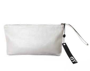 White leather clutch - leather wristlet clutch - evening clutch SALE leather clutch purse - zipper clutch - handmade leather clutch bag