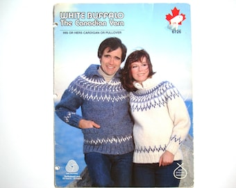 White Buffalo His or Hers Pullover Knitting Patterns 6726 Paper Pattern Fair Isle Knit Chart Design Men Women Icelandic Style Zipper Collar