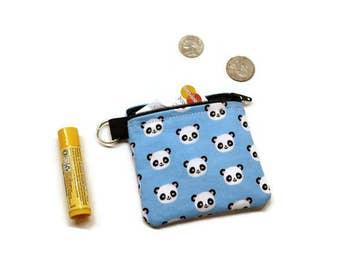 Pandas zippered pouch, coin purse, change bag. Blue. Pandas gift idea.