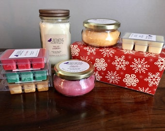 CHRISTMAS box - PICK your fillers - Soy Candles and/or Wax Melts - Hand-poured/Strong/Natural/Christmas/Holiday/Presents/Best/Snowflakes