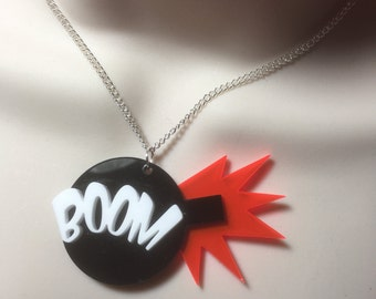 laser cut acrylic...THE BOMB!..necklace...BOOM!!!!