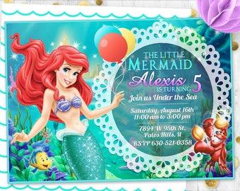 Mermaid invitation Little mermaid Ariel Birthday invitation birthday card birthday invite Mermaid invite card