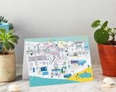 Robin Hood's Bay Greeting Card - North Yorkshire Coast - Yorkshire - Location art - Whitby - houses illustrations - coastal art
