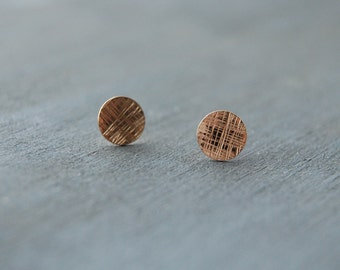 Gold Filled Cross Hatched Earrings, Gold Filled Circle Earrings, Textured Circle Earrings, Small Circle Studs,