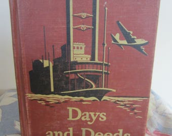 Vintage 1947 School Reader Days and Deeds Basic Reader with Color Illustrations and Short Stories Decorative Cover