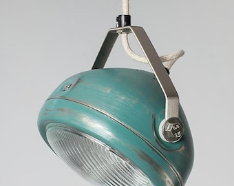 No.5 vintage headlight in aqua – hanging lamp – spotlight - industrial lighting