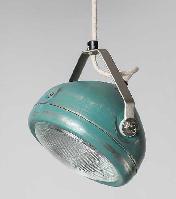 no 5 vintage headlight in aqua hanging lamp spotlight. Black Bedroom Furniture Sets. Home Design Ideas