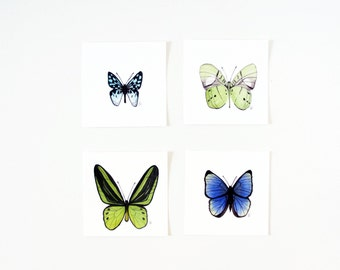 Watercolor Butterflies Art Print Set / Archival / Miniature / Blue Butterfly / Green Butterfly / Realistic / Contemporary / Gifts Under 30