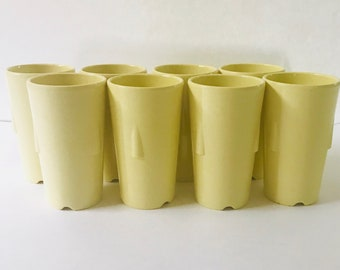 Rare Soft Yellow GPL 337 5 Melmac Melamine Stackable Tumblers 4oz, Canada Made
