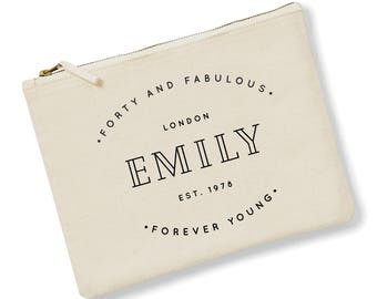 Forty and Fabulous Gift Ideas | 40th Birthday Gift | Personalised Makeup Bag | Custom Makeup Bag | Birthday gift ideas for her | 40th Gift