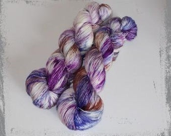 Hand Dyed lace yarn, merino silk, brown, purple